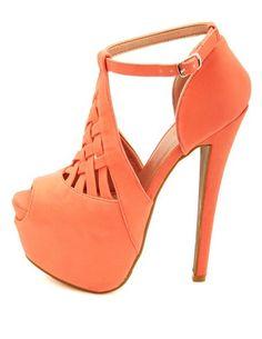 Lattice Cut-Out Peep Toe Platform Heels: Charlotte Russe