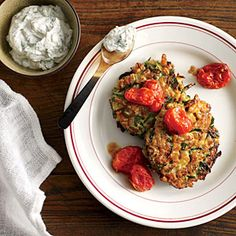 Zucchini-Farro Cakes with Herbed Goat Cheese and Slow-Roasted Tomatoes | CookingLight.com #myplate #veggies #dairy #wholegrains