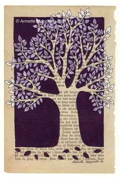 """""""Purple Tree"""" by carambatack; pencil, ink, and marker on 1892 book page; 18x25 cm print $25"""