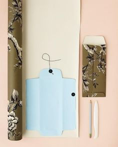 DIY Inspiration - Using patterned wallpaper and a purchased envelope as a template to make your own envelopes.