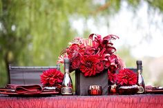 Red, Black and White Wedding Table Decorations and Centerpieces
