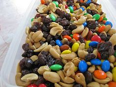 TRAIL MIX -- peanut + cashews + m + raisins = super easy yumminess