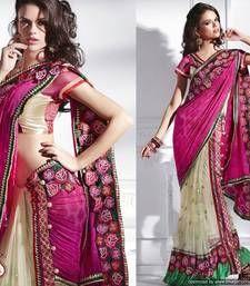 Magenta and Beige Brown Viscose and Jacquard Sari viscose-saree @ www.mirraw.com deep pink, desi fashion, designer sarees, saris, indian fashion, beig brown, brown viscos, indian sarees, jacquard sari