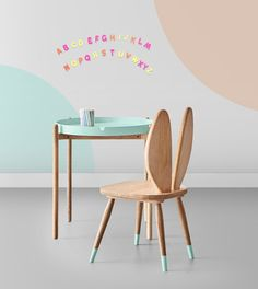 Emmeline Kids Chair in Mango Wood & Blue
