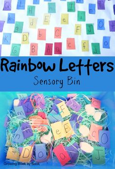 ABC Game:  Rainbow Letters Sensory Bin from growingbookbybook.com