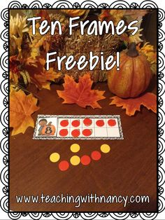 Free: Fall Pumpkin Ten Frames with 1:1 correspondence.