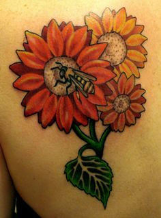 Flowers & Bee Tattoo.......that but with gerber daisies