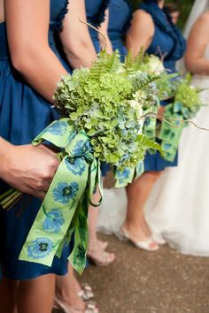 Bouquets with ribbons