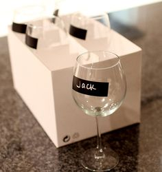 Label your wine glasses with chalk!