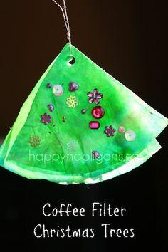Coffee filter christmas tree ornament ~ Happy Hooligans