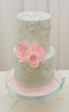 pretty pastel pink, mint cake