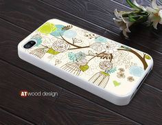 unique iphone  case  iphone 4 case iphone 4s case iphone 4 cover beautiful case illustrator tree and flower design printing. $13.99, via Etsy.