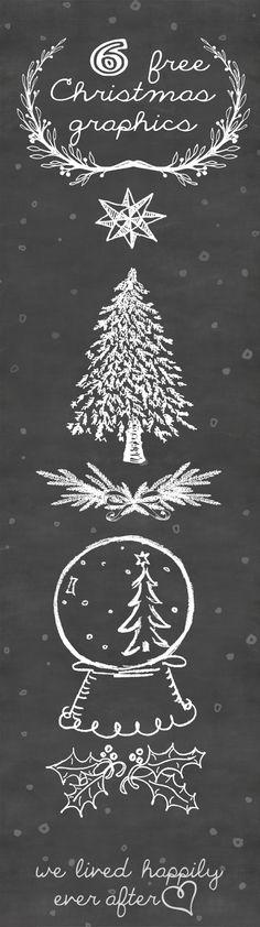 6 Free Christmas Graphics- perfect for printables and Christmas cards!