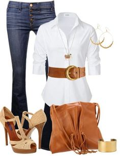 The Best Color Combinations in Women's Apparel jean, fashion, style, cloth, white shirts, outfit, color combinations, belt, shoe