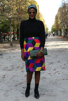Amazed with the print on that skirt.