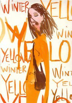 #Izak Zenou #Fashion Illustration #Trafficnyc #watercolor #typography