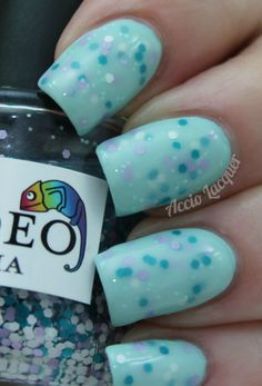 Sally Hansen Polar Bare over Candeo Oceania over Lime Crime Once in a Blue Mousse