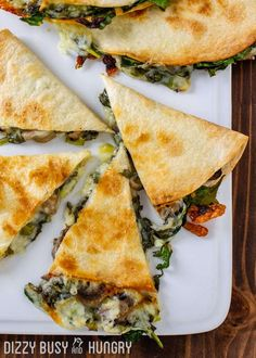Baked Spinach Mushroom Quesadillas - My favorite quesadilla recipe! These are crispy, delicious, and chock full of nutrition. And baking these quesadillas allows you to make many at once, so you can feed your hungry family quickly and easily! #vegetarian #quesadillas #healthy #easydinner #dizzybusyandhungry