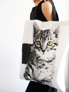 crazy cats, anim, cat tote, big kitten, kittens, kitti, crazy cat lady, tote bags, kitten tote