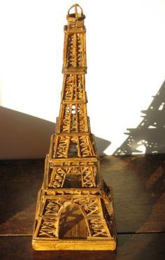 Antique Tramp Art Matchstick Eiffel Tower Model