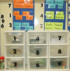 math station, math tubs, work stations, center organization, kindergarten math