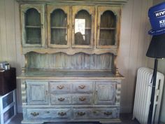 Vintage 2 piece Glass & Wood Cabinet $150