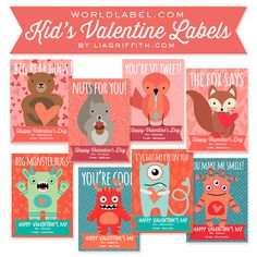 Adorable Printable Kid's Valentine's Day Labels! #ValentinesDay #Printables #Kids LOVE THESE!