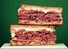 Grilled Corn Beef and Fontina Sandwiches inspired by St. Patrick's Day.