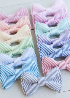 For the bridesman: The Beau- classic stripe seersucker double stacked bow ties for boys and men of all ages- choose from 13 shades (clip or strap selection)