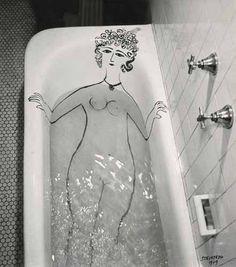 Girl in Bathtub, 1949. Saul Steinberg