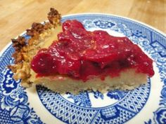 White Sweet Potato Lime Pie with Cranberry Topping
