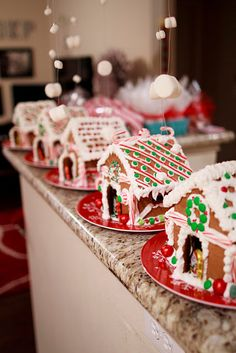 Gingerbread houses and it is snowing huge marshmallows. I want to make this a yearly tradition :)