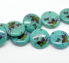Turquoise  Butterfly Pattern Round Stone Loose by LIKEITNOLOVEIT, $6.49