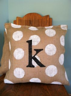 Burlap Polka Dot Monogram Pillow