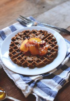 Vegan whole grain waffles with roasted stone fruit