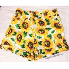 Sunflower Love. ANY SIZE High Waisted Denim by mayrafabuleux
