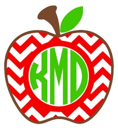 Chevron Apple Monogram Car Decal Window Sticker by VinylDezignz, $5.95 teacher gifts, teacher car decals, car monogram, appl, monogram car decal