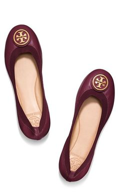 Cozy cranberry flats by Tory Burch