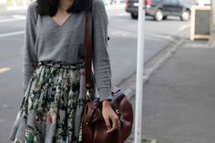 A floral skirt and a slouchy top.