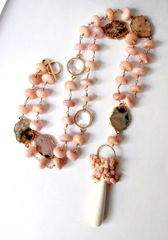 Pink Peruvian Opal Necklace Long Wire Wrapped by DoolittleJewelry, $495.00