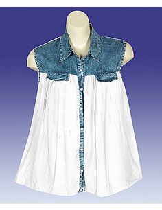 Get this season's hottest look - sheer sleeveless top has a denim upper with metallic button closures down the front. Best worn with layering piece underneath. Layering piece not included. sonsi.com trim top, denim trim, white denim, sleeveless top, plus size, white fashion, colorwhit fashion, size2x colorwhit, size white