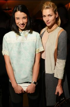 Lily Kwong -with Jessica Hart-wears a Peter Som Spring 13 mint jacquard floral top!