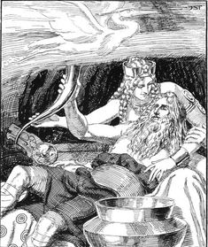 """Odin Drunk at Gunnlöd's  """"The heron of forgetfulness hovers over ale-gatherings and steals the wits of men: with that fowl's feathers I was once fettered within the court of Gunnlöd""""  (Hávamál 13,  A. Orchard Translation)"""