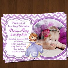 Sofia the First Invitation, Sofia Birthday Invitations, Sofia the First Party Invitation Printables - Style 23 on Etsy, $9.99