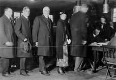 Warren Harding in line with his wife, Florence, standing in line to vote, 1920. Florence Harding was the first First Lady to vote.
