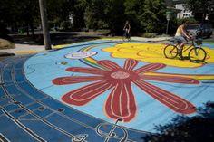 Painted intersections dot many Portland neighborhoods - like this one at NE Rodney and NE Tillamook. #nepdx