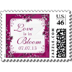 Pink, Black, and White Cherry Blossom Love is in Bloom Wedding Postage #wedding #stamps #postage #cherryblossom