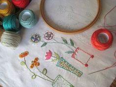 hand embroidery, flower embroideri, sew, tea towel, embroid flower, craft idea, bordado, cross stitches, embroid idea