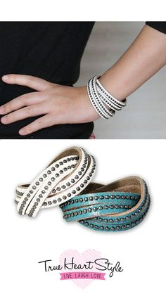 Studded leather wrap cuff bracelet with round metal studs.