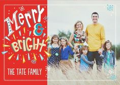 Show off your family with 'Quirky Christmas' Folded Holiday Photo Cards in Tomato Red